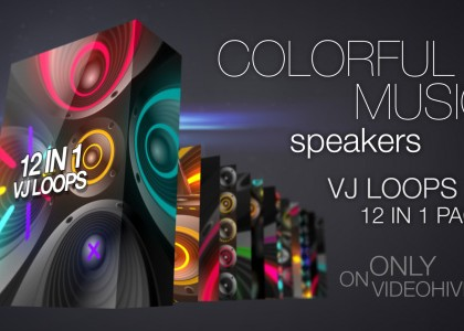 Colorful Music Speakers VJ Loops Pack